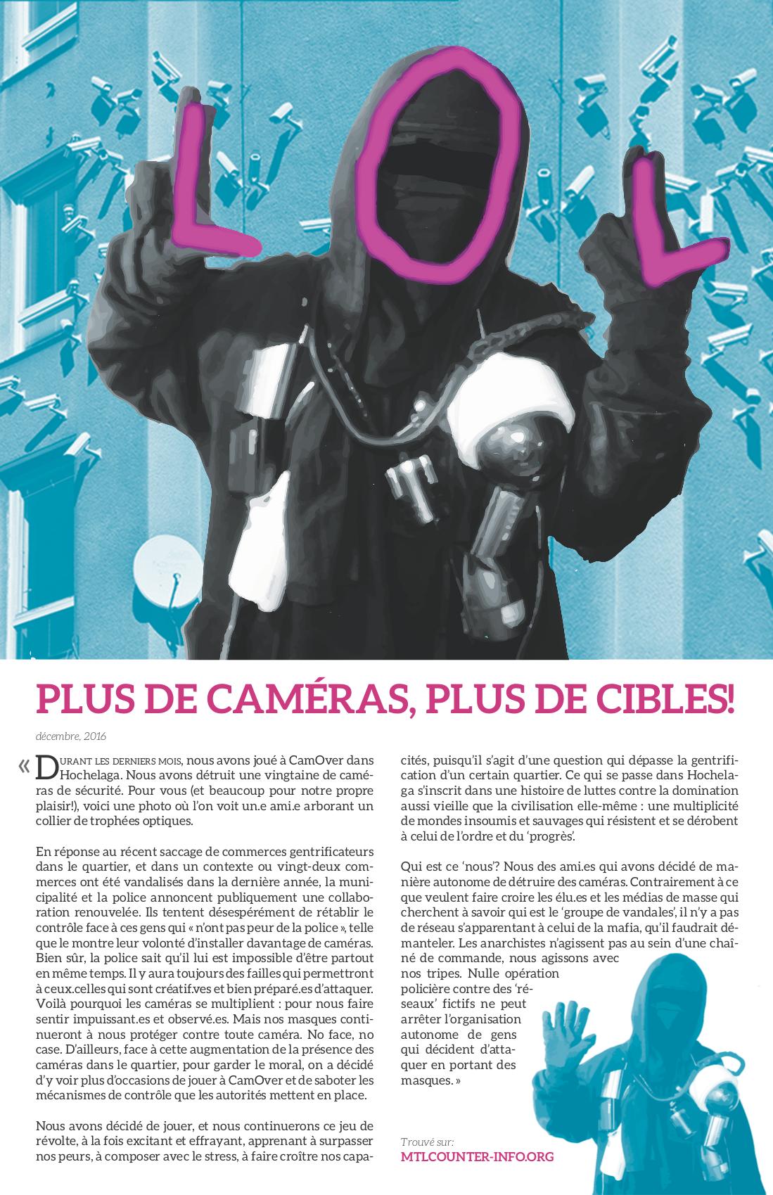 Plus de caméras, plus de cibles!