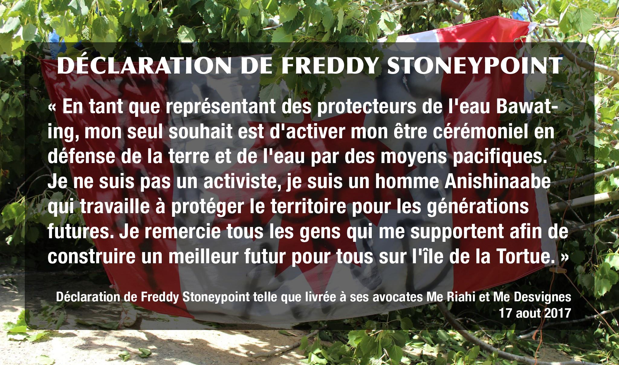 Déclaration de Freddy Stoneypoint
