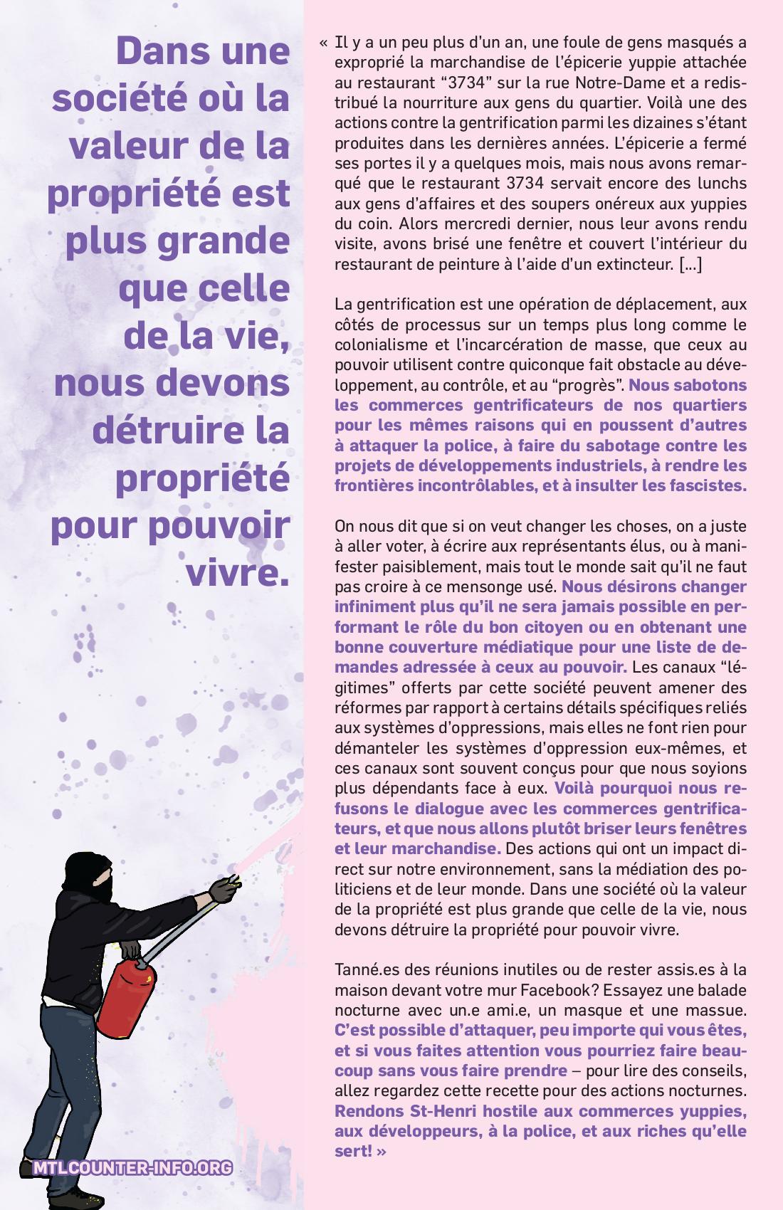 """Action de dégentrification contre """"3734"""""""
